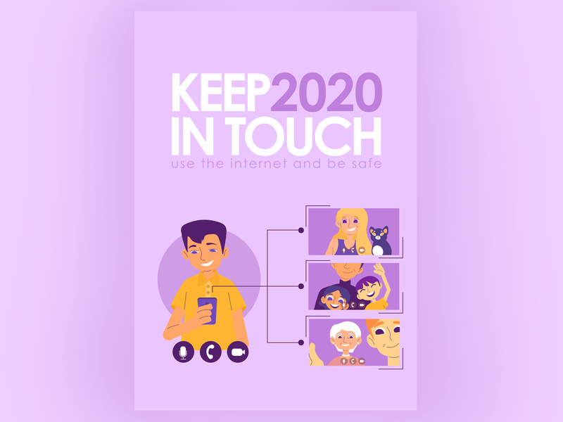 Keep in touch during self-isolation/lockdown lockdown self-isolation communication internet card poster vector illustration art illustration