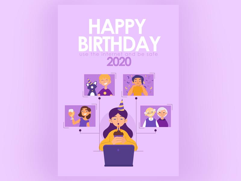 Happy Birthday during self-isolation card poster communication internet happy birthday lockdown self-isolation art illustration art vector