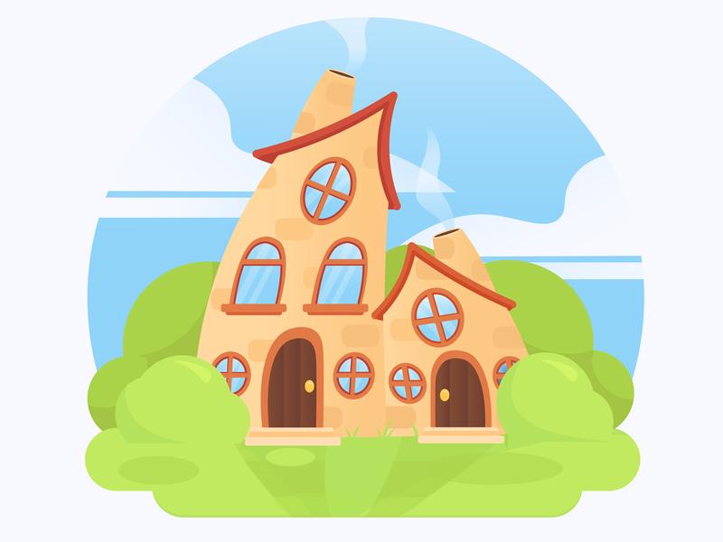 Funny houses illustration building design house art vector illustration