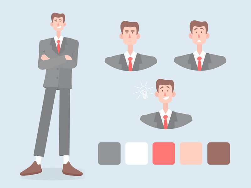 Office worker character design art manager worker office character illustraion design vector
