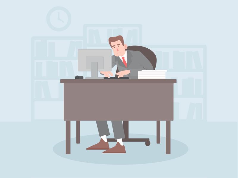 Office worker character illustration art manager work office character illustration design vector