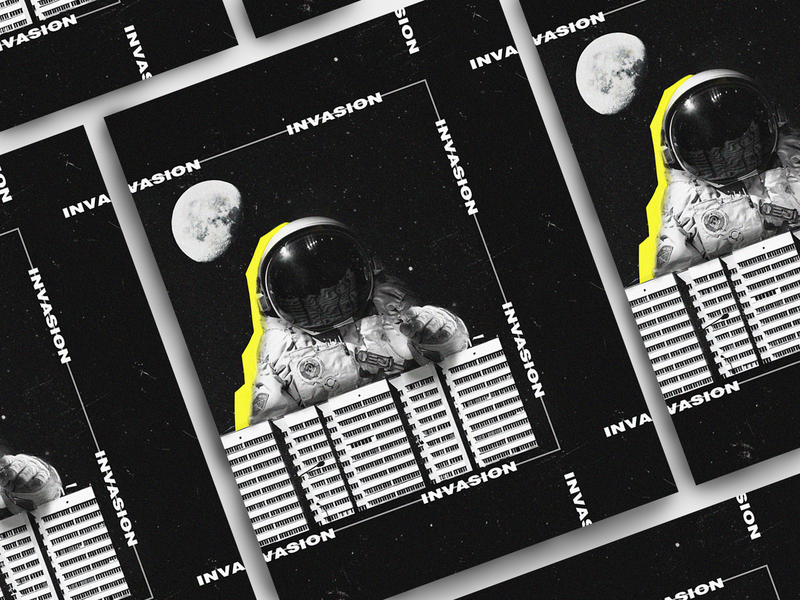 Invasion dark poster print photoshop alien invasion space polygraphy astronaut poster design poster design