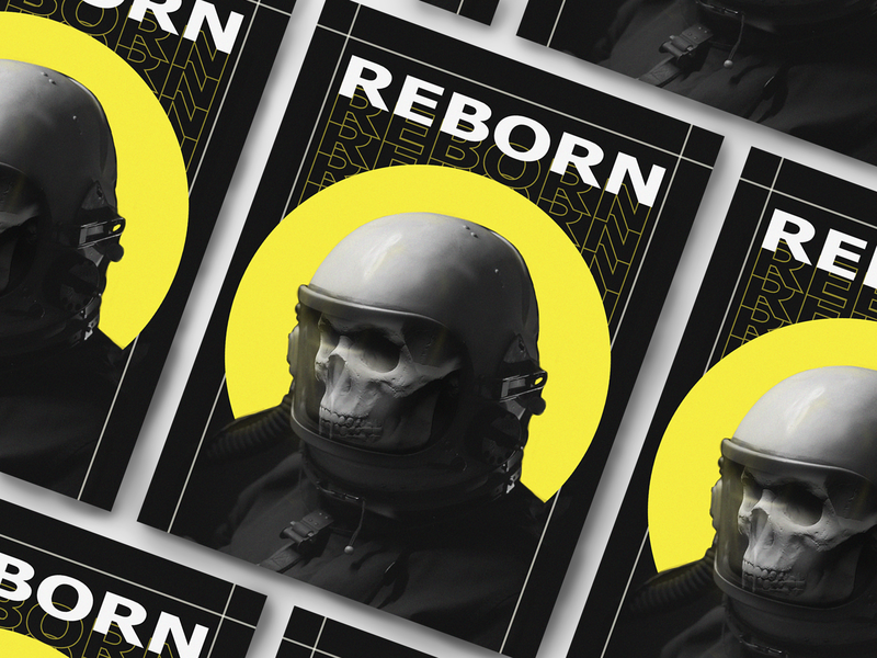 Reborn dark poster skeleton reborn astronaut skull photoshop polygraphy print poster design poster design