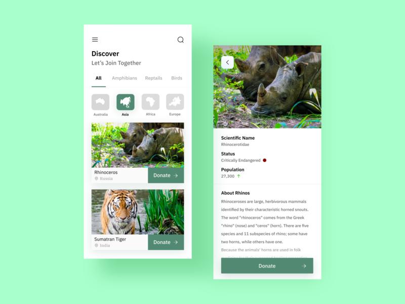 Donation collector app donations rhinoceros animals flat minimalist minimal app design design app ux  ui ui ux uiux uidesign ui