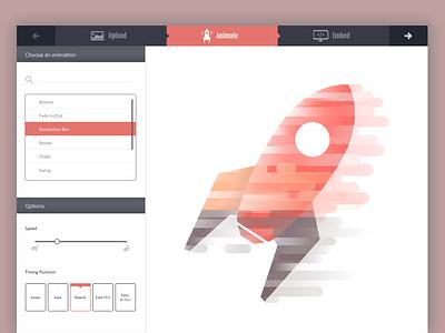 Upload Animate Embed rocketship css animation website nav color process image