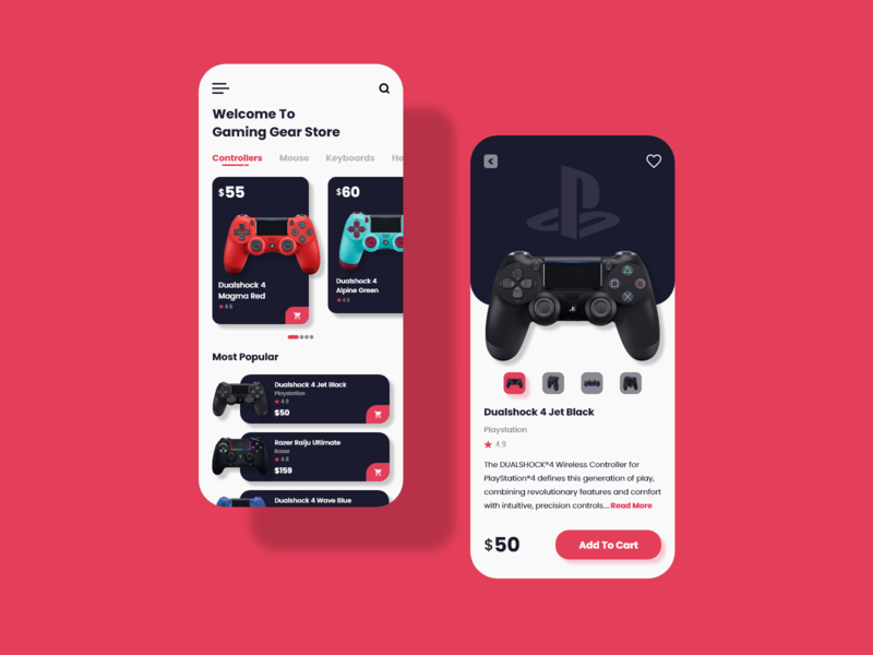 Gaming Gear Store Mobile Apps ux gear gaming online mobile 2020 trend ui design app design app