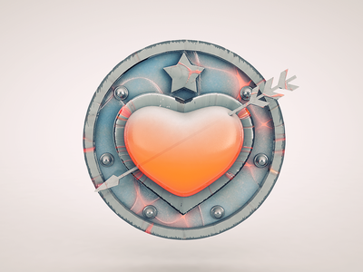 Heart valentines locket heart arrow cinema4d star