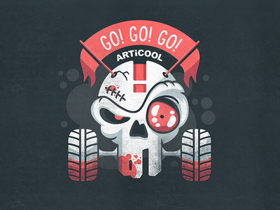 Go! Go! Go! atv horror fun bones red vector skull