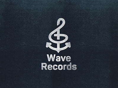 Wave Records music trebleclef anchor logo record wave
