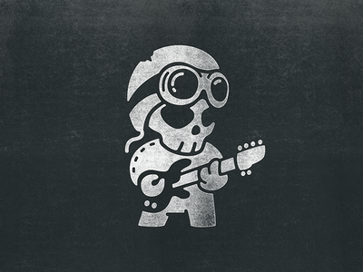Guitarist bambozza character kawai boy toy helmet skull music guitar guitarist