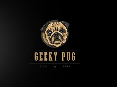 Geeky Pug design logo