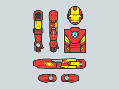 Superhero's Essentials : Iron man armor iron man illustrator flat character superhero hero essentials line gear