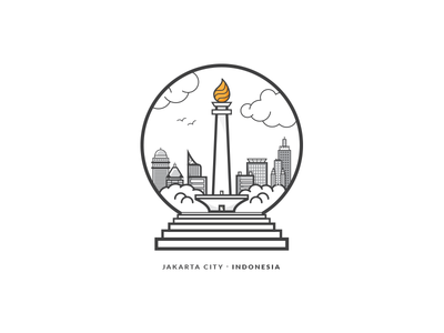 Jakarta City - Indonesia Badge badge illustration monas indonesia jakarta city building line stroke icon vector