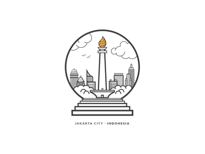 Jakarta City - Indonesia Badge badge illustration monas indonesia jakarta city building line stroke icon vector