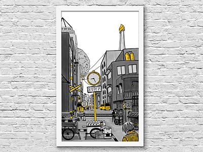 City illustration gray black yellow sketch indonesia jakarta town illustration