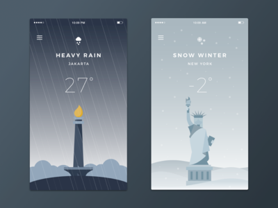 Weather App snow rain illustration weather new york jakarta white blue mobile app ios ui