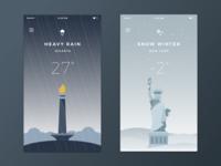 Weather App snow rain illustration weather new york jakarta white blue mobile app ios ui