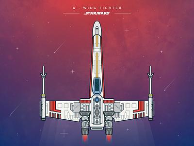Star Wars - X Wing Fighter starwars challenge artwork ship star wars x-wing spaceship galaxy line art vector illustration