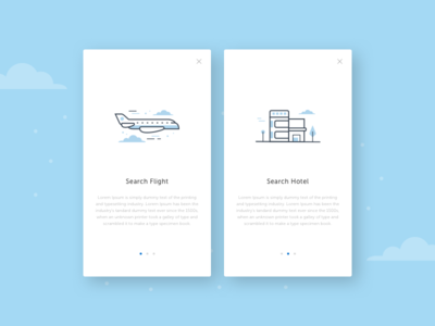 Search Flight & Hotel Illustration vector search flight hotel web mobile minimalist illustration blue clean simple