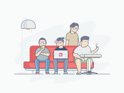 Our Boss Illustration empty state e-commerce bukalapak play collaboration boss living room character illustration