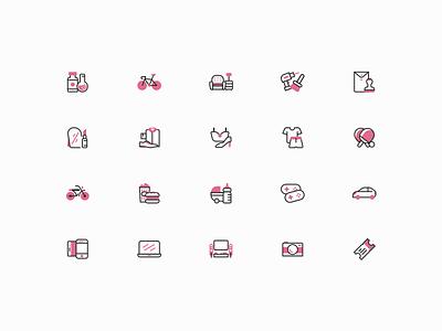 Category Icon Set branding art line ecommerce desktop app iconography category icon kit icon set icons icon