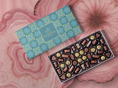 Godiva Mermaid Series (No:3 Sea Blue) pattern design pattern art patterns pattern chocolatebox chocolate packaging package mockup packagedesign package design packaging package illustration boxes box graphic design graphicdesign design adobephotoshop adobe illustrator adobe