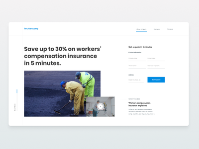 Iworkers - Insurance company minimalistic minimalism minimal typography landing page interface builders homepage form website webdesign figma digital design ux uiux ui insurance
