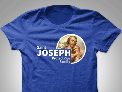 "Saint Joseph ""Protect Our Family"" Tshirt Design aris española graphic design aris philippines manila makati pinoy designer filipino apparel logo tshirt"
