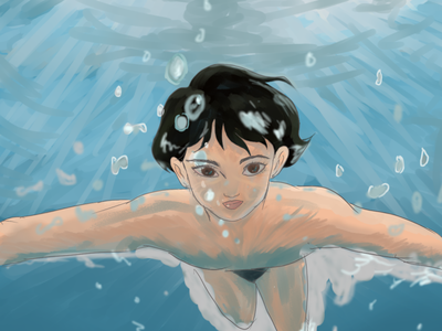 Under the water character design portrait character anime illustration design