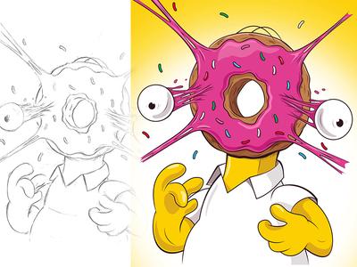 Donut Head simpsons homer simpson adobeillustrator digitalart illustration adobe cartoon illustrator vector