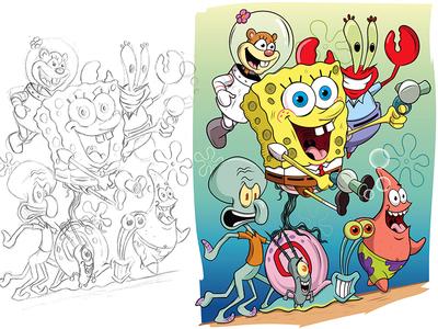 SpongeBob & Friends nickelodeon spongebob adobeillustrator digitalart illustration adobe cartoon illustrator vector
