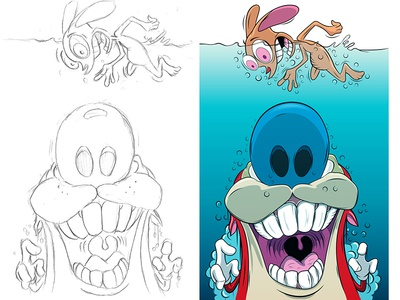 Ren & Stimpy [Jaws Version] renandstimpy adobeillustrator illustration adobe cartoon illustrator vector digitalart