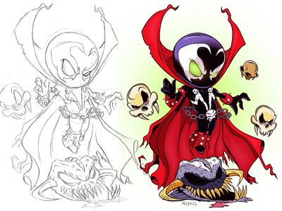 Spawn Chibi chibi spawn digitalart illustration adobe cartoon illustrator vector