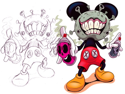 Mickey Covid-19 coronavirus covid19 mickeymouse disney adobeillustrator digitalart illustration adobe cartoon illustrator vector