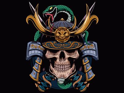 Samurai Skull graphic adobeillustrator digitalart adobe illustration illustrator vector