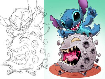 Stitch v Corona disneyland coronavirus stitch disney adobeillustrator digitalart illustration adobe cartoon illustrator vector