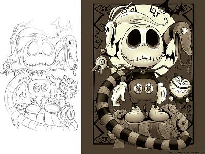 Jack+Mickey Mash UP halloween disneyland adobe illustration digitalart adobeillustrator disney cartoon illustrator