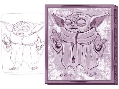 Touch...I wil not disney starwars babyyoda adobeillustrator digitalart illustration adobe cartoon illustrator vector