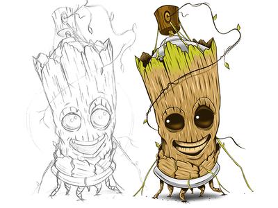 Groot Spray design cartoon groot disney adobeillustrator digitalart illustration adobe illustrator vector