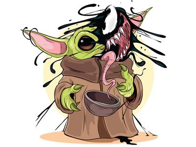 Baby Yoda meets Venom venom baby yoda comics adobeillustrator digitalart illustration adobe cartoon illustrator vector