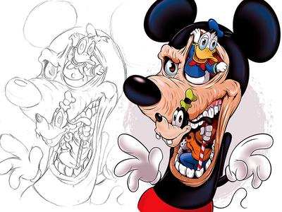 Mickey's Nightmare graphic design disneyland adobeillustrator illustration disney digitalart illustrator cartoon vector