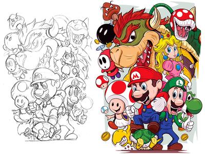 Super Mario graphic nintendo supermario adobeillustrator digitalart illustration adobe cartoon illustrator vector