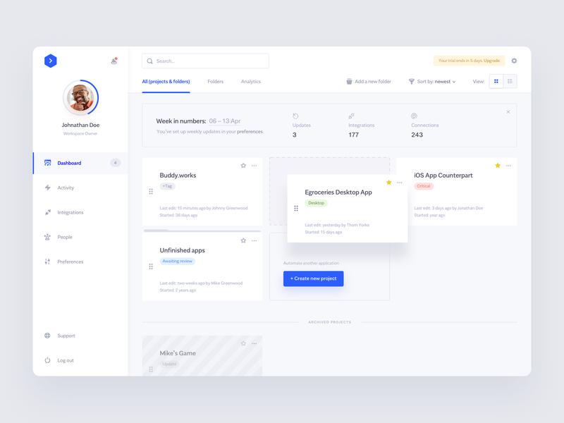 Buddy.works — Dashboard automation design deployment slack bitbucket github app clean minimal ux ui buddy dashboard