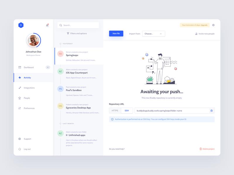 Buddy.works — Activity View cicd dashboard buddy ui ux minimal clean app github bitbucket slack deployment design automation