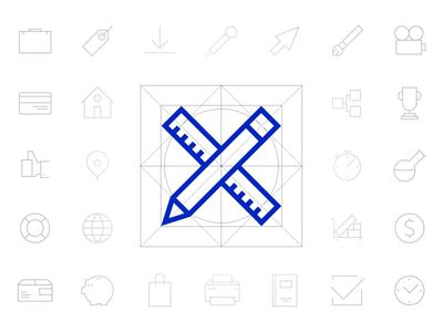 UXPin Icon Set [Free] outline vector monoline lineicons freebie iconpack iconset ultramarine geometry icons ui uxpin