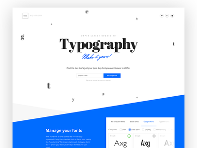 UXPin Typography and Font Management landing page lp minimal onepage ui ux uxpin webdesign fonts typefaces typography