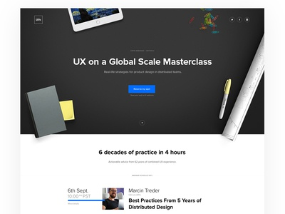 UX on a Global Scale Masterclass collaboration dashboard landing lp minimal onepage page ui ux uxpin webdesign webinar