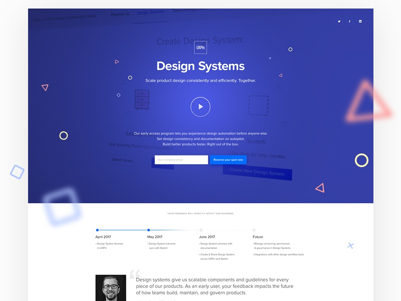 UXPin Design Systems website webdesign uxpin ux ui system design system minimal shapes landing page lp clean