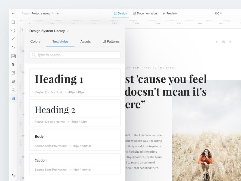 UXPin Design Systems: Typography website webdesign uxpin ux ui system design system minimal typography type article clean