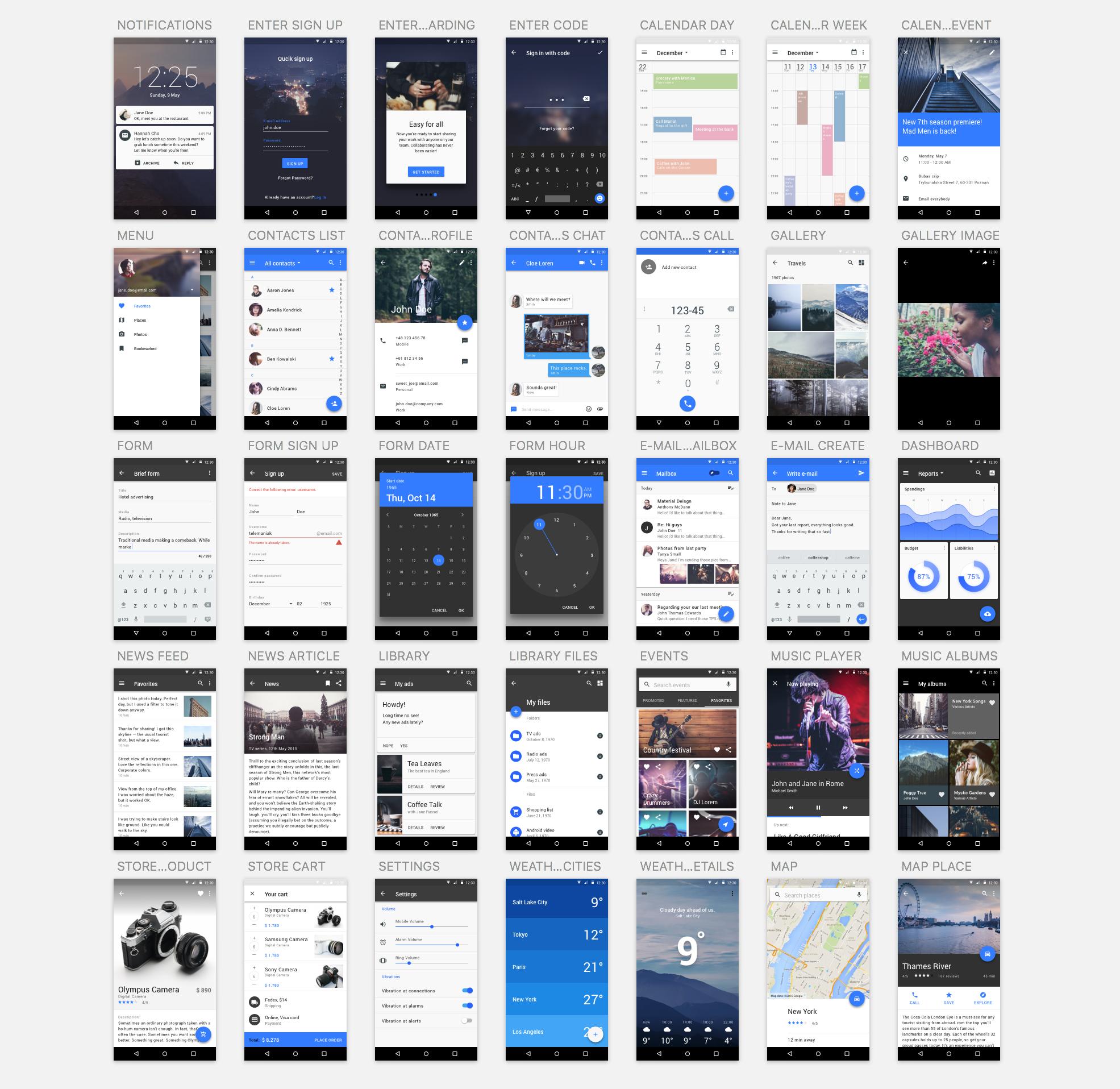 Materialdesignuikit screens